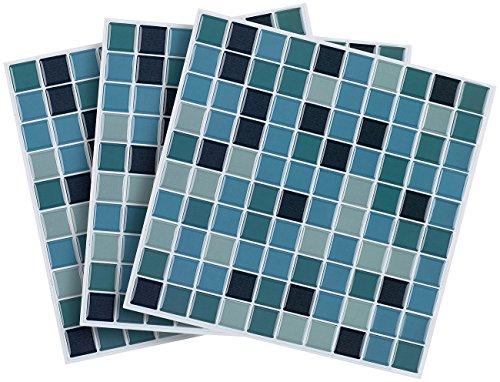 infactory 3D Klebefliesen: Selbstklebende 3D-Mosaik-Fliesenaufkleber Aqua, 26 x 26 cm, 3er-Set (Mosaik Klebefliesen)