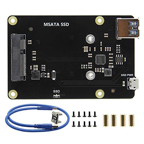 Geekwrom Raspberry Pi X850 V3.0 mSATA Mobile Festplattenmodul, Raspberry Pi 3 B+ mSATA SSD Speichererweiterungsplatine, kompatibel mit Raspberry Pi 3 Modell B Plus/3B/2B/B+
