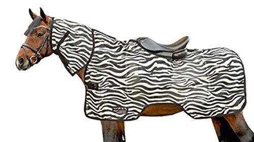 HKM 4727 Fliegenausreitdecke Zebra Halsteil Sattelausschnitt Ausreitdecke 125, Weiß/Schwarz