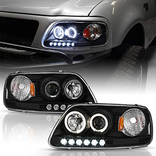 ACANII - For 1997-2003 Ford F150 1997-2002 Expedition Black LED Dual Halo Ring Projector Headlights Headlamps Left+Right