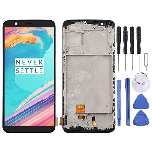 Reparatie onderdelen TFT Materiaal LCD-scherm en Digitizer Volledige Vergadering met Frame for OnePlus 5T A5010 (zwart) (Color : Black)