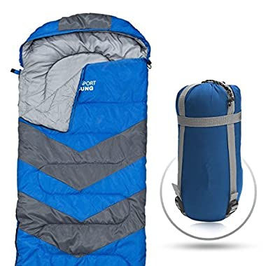 Sleeping Bag – Envelope Lightweight Portable, Waterproof, Comfort With Compression Sack - Great For 4 Season Traveling, Camping, Hiking, Outdoor Activities & Boys. (SINGLE) By Abco Tech (Red)