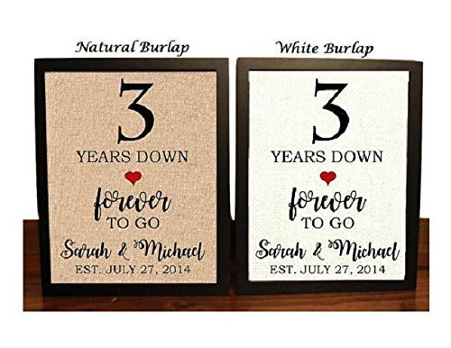Amazon Com 3rd Anniversary Burlap Gift 3rd Wedding Anniversary Gift Gift For 3rd Anniversary 3 Years Down Forever To Go 3 Years Of Marriage Handmade