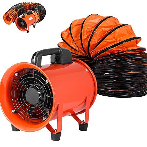 VEVOR Ventilador Industrial 200 mm, Extractor Aire Industrial, 220 V, Ventilador de Admisión Extractor de Aire, Anillos de Acero Inoxidable, Ventilador Cilíndrico Manguera de Vinilo 10 m