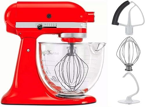 popular KitchenAid 5-Quart Tilt Head Stand Mixer With Flex Edge Beater Glass wholesale Bowl Hot Sauce 2021 Red outlet online sale