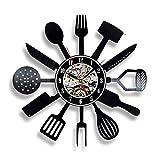 FDGFDG Vajilla Disco de Vinilo Reloj de Pared diseño Moderno decoración Cocina Cuchillo y Tenedor Cocina Reloj de Pared Reloj de Pared decoración del hogar Mudo