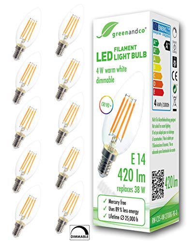 10x greenandco® CRI90+ Glühfaden LED Kerze dimmbar flimmerfrei E14 4W ersetzt 38W 420lm 2700K warmweiß 320° 230V 2 Jahre Garantie