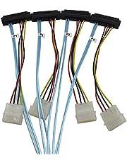 YIWENTEC Mini SAS Cable 4i SFF-8087 36 Pin a 4 SAS 29 Pin SFF-8482 SAS Cable de Datos 10gbps Compatible Macho a Hembra Ventilador out Cable con Potencia 1m H0407-1M