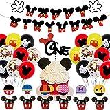 Decoraciones de cumpleaños de Mickey Mouse WENTS 48PCS Artículos de Fiesta de Mickey y Minnie Banner de Feliz cumpleaños Globos de Lunares para Decoraciones de Fiesta temáticas de Minnie