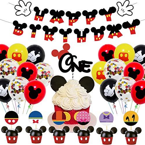 Decoraciones de cumpleaños de Mickey Mouse Miotlsy 48PCS Artículos de Fiesta de Mickey y Minnie Banner de Feliz cumpleaños Globos de Lunares para Decoraciones de Fiesta temáticas de Minnie