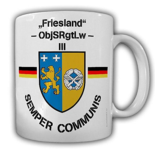 Tasse Semper Communis ObjSRgtLw Objektschutz Regiment der Luftwaffe Friesland Bundeswehr Wappen Abzeichen Schortens Kaffebecher #22307