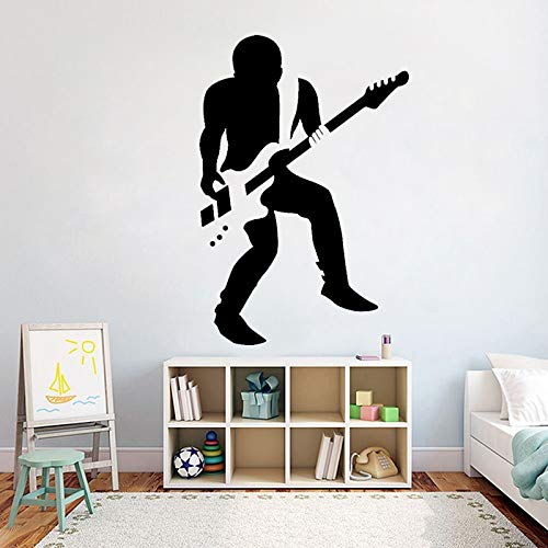 yaofale Rock Gitarrist Wandaufkleber Vinyl Musik Jungen Gitarre sänger Schlafzimmer Wandaufkleber Abnehmbare Kunst Raumdekoration Tapete 54x80cm