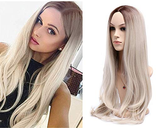 Rugelyss Ombre Blonde to Red Brown,Long Wavy Wigs for Women 24 Inches Synthetic Full Hair Wig with Middle Part and Dark Roots