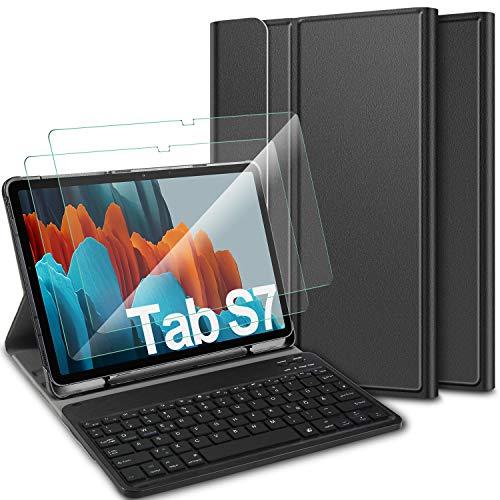 ELTD Tastatur Hülle mit Panzerglas für Samsung Galaxy Tab S7,Deutsches QWERTZ Tastatur mit Schützhülle und Glas Displayschutz für Samsung Galaxy Tab S7 (SM-T870/875) 11 Zoll 2020, Schwarz