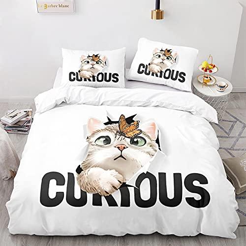 Funda Nórdica Gatos Juego de Cama Blanco Estilos Múltiples Súper Lindos Patrón de Gato Animal 3D con Funda de Almohada con Cremallera (Gato 2,Cama 90-150×220)