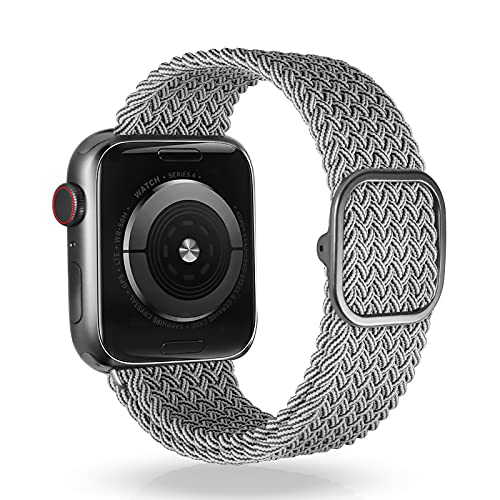 VEESIMI Braided Elastic Watch Band Compatible with Apple Watch Band 44mm 42mm 40mm 38mm, Stretchy Strap with One-hand Adjustable Buckle, Compatible for iWatch Bands Series SE 6/5/4/3/2/1 Women & men