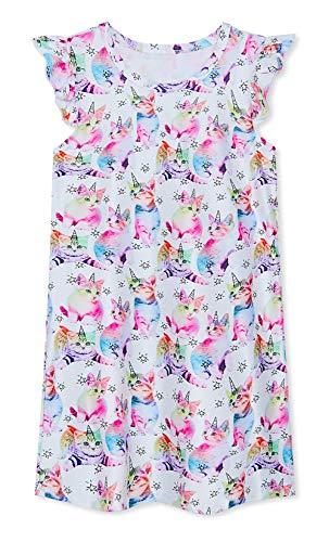 Funnycokid Mädchen Prinzessin Nightes Katze Grafik Nachthemden Sommer Rüschenärmel Lässig Nachthemd 7-8t