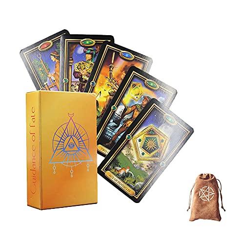 Fácil Tarjetas de Tarot Doradas Tablero de Mesa Juegos de Cubierta de Mesa Oracle Tarjetas Adivination Fate Tarjeta de Juego Familia Familia Regalo,with Bag,Standard