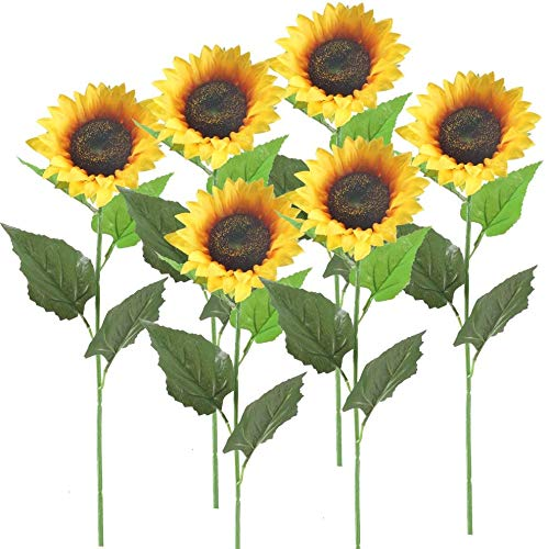 XHXSTORE 6Pcs Fake Silk Sunflower Artificial Flowers Bouquet Realistic Faux Autumn Sunflower Yellow Sun Flower for Grave Wedding Garden Office Party Floral Arrangement Christmas Halloween Decor 62CM