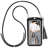 takyu Cell Phone Lanyard, Crossbody Leather Phone Purse Size L(Black)