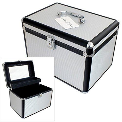 Large Silver & Black Aluminium Lockable Vanity Case Cosmetic Storage Beauty Box by Astin of London