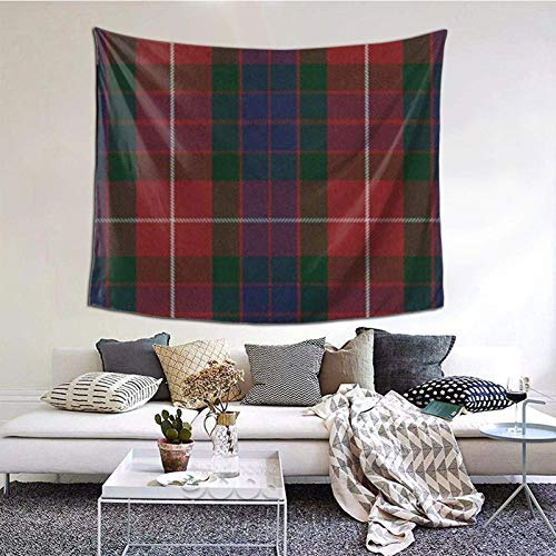 Fraser Red Tartan Tapestry Wall Hanging Wall Decor Home Decor Beach Blanket Indian for Bedroom Dorm Home 60x51 Inch