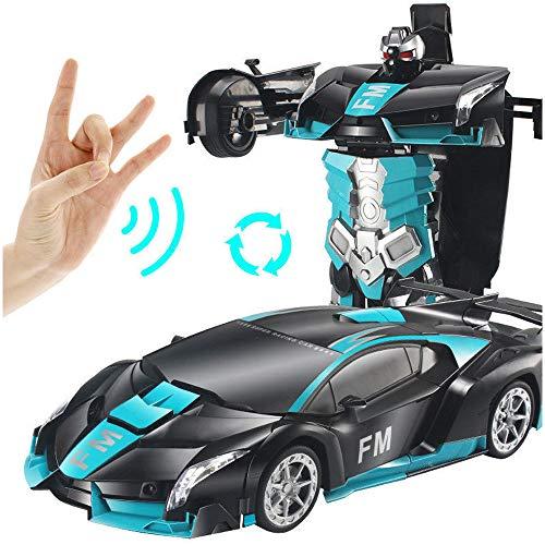 Kikioo 1:12 Control remoto Deformación Coche, One Key Deformation STUNT RC Vehículo para juguetes para automóviles para niños, Robot de deformación, Conversión de una llave 360 ° Rotating Stunt RC R