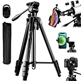 60-Inch Camera Tripod Stand for Telescope with Phone Adapter & Fluid Head, Lusweim Tripod with Bluetooth Remote&Phone Mount, Compatible for Spotting Scopes/Binoculars/Monoculars/Canon Nikon Sony