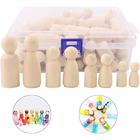 Wooden Peg Dolls Unfinished People 50 Pieces Wooden Decorative Diy Doll People Shapes Nature Wooden For Kids Painting Craft Art Projects Peg Game Decoration Toy Storage Case In Assorted Sizes Amazon Co Uk Kitchen Home