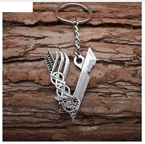 Porte-clés Vikings - Symbole V - En métal - Odin - Thor - Valknut - Cadeau - Hommes - Nordmann - Walhalla - Mythologie
