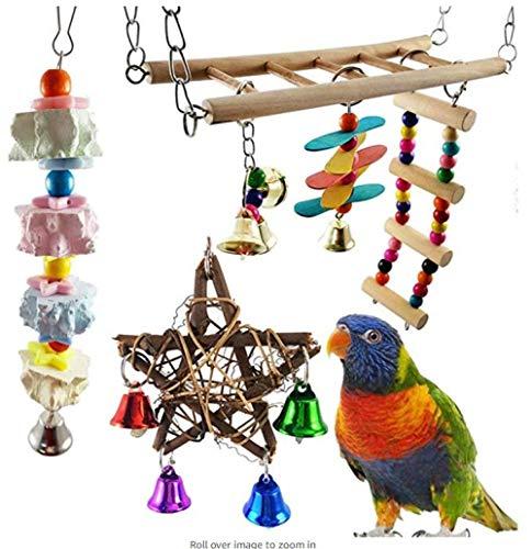 ENLAZY 3 Stück Vogel Kauen Spielzeug Set Papagei Ausbildung Lernspielzeug gehören Hängebrücke Treppe Blume, Pfeffer Holz Molarenschnur, Rattan fünfzackigen Stern