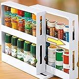 Kousa Estantería de cocina, 2 estantes para especias, estante de cocina, estante de almacenamiento, organizador de tarros de especias