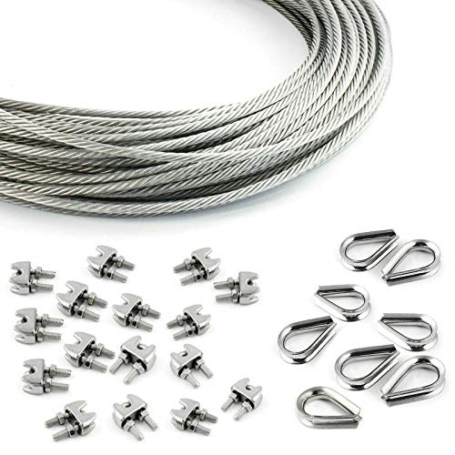 DQ-PP STEEL ROPE SET | 5mm | 10m | 16 x rope clamps 5mm | 8 x thimbles 5mm | Stainless steel INOX | 7x7 medium soft | Wire rope for climbing aid rustproof steel wire forest rope winch tension handrail