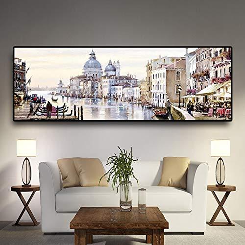 PLjVU Abstracto Venecia Agua Pintura al óleo Lienzo Resort Barco Arquitectura Cartel y Grabado Sala de Estar Mural-Sin marco50X150cm