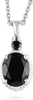 Womens Black Tourmaline Black Spinel Black Onyx 925 Sterling Silver Platinum Plated Chain Pendant Necklace For Women 20
