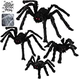 """6 Pack Halloween Decorations with 30"""" Giant Spider + 23"""" Halloween Spider + 20"""" Hairy Spider + 12"""" Scary Fake Spider + 400 sqft Spider Web + 20 Small Spiders for Indoor Outdoor Halloween Decorations"""