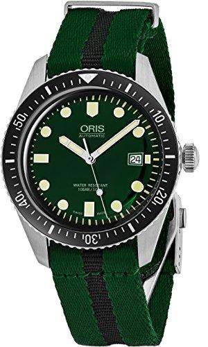 Oris Divers Sixty-Five Herrenuhr mit grünem Zifferblatt, leuchtende Uhr – grünes NATO-Gewebeband, Schweizer Herstellung, automatische Taucheruhr, 01 733 7720 4057-07 5 21 25FC