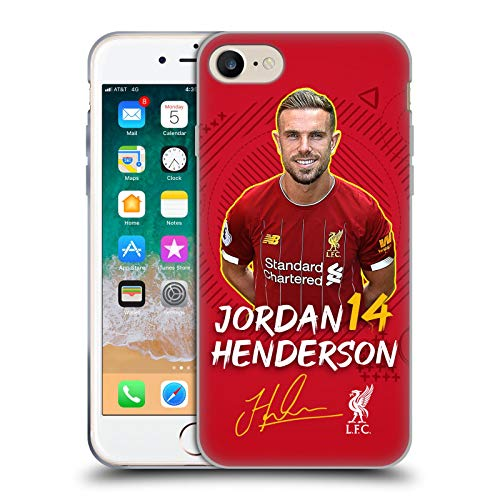 Oficial Liverpool Football Club Jordan Henderson 2019/20 Primer Equipo Grupo 1 Carcasa de Gel de Silicona Compatible con Apple iPhone 7 / iPhone 8 / iPhone SE 2020