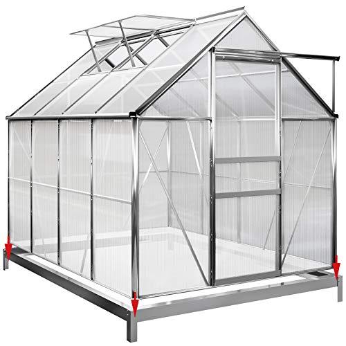 Deuba Invernadero de policarbonato Transparente con tragaluces y Base 7,6m³ Jardín huerto...