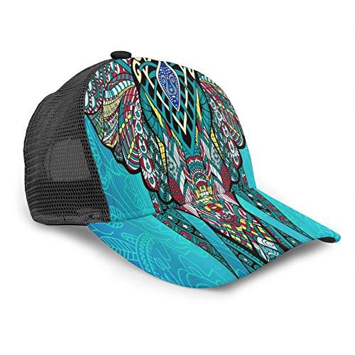 Inaayayi Unisex Baseball Cap Elefant Indisch Bohemian Boho Erwachsene Fashion Caps Mesh Trucker Hat Verstellbarer Strapback Schwarz