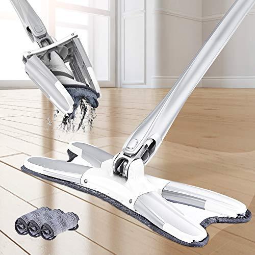Microvezel-vloermop met 3 stuks mopdoek kan worden vervangen. Handsfree bellen wassen vlakke mop handmatig drukken van huishoudelijke schoonmaakgereedschappen. 1 Mop 3 Mop Head.