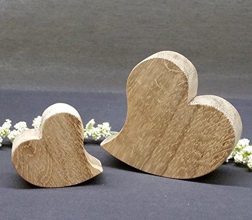 Corwood, Herzen-Set aus Holz, Deko Eiche