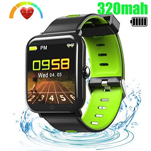 Fitness Armband - Fitness Trackers mit Pulsmesser Aktivitätstracker Wasserdicht IP68 fit tracker Farbbildschirm Schrittzähler, Kamerasteuerung, Vibrationsalarm Anruf SMS Whatsapp für iOS Android