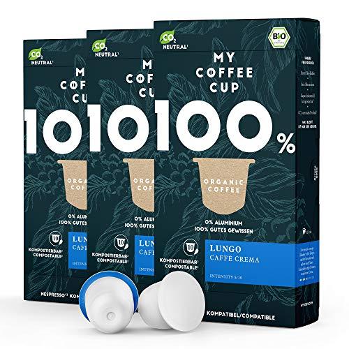 My Coffee Cup – LUNGO CAFFÈ CREMA– BIO-KAFFEE 3 PACKUNGEN I 30 Kaffeekapseln für Nespresso®³-Kapselmaschinen I 100% industriell kompostierbare Kaffeekapseln – 0% Alu I Nachhaltige Kaffeekapseln