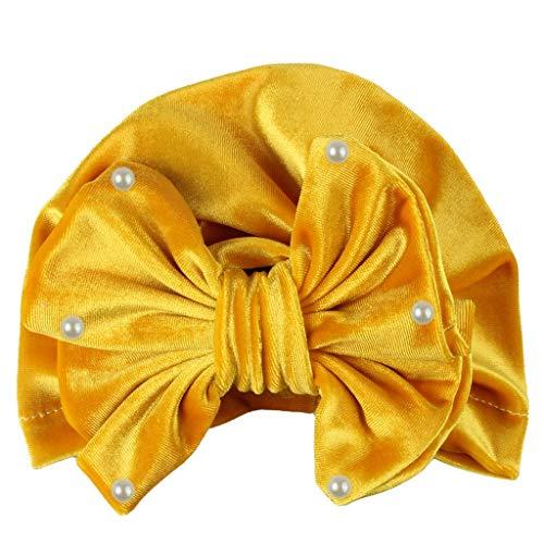 YWLINK Newborn Pearls Perlenstickerei Samt MüTze Kopftuch Girl Knotted Hate Boy Warm Bow Beanie Baby Headwear Cap(Gelb,35cm)