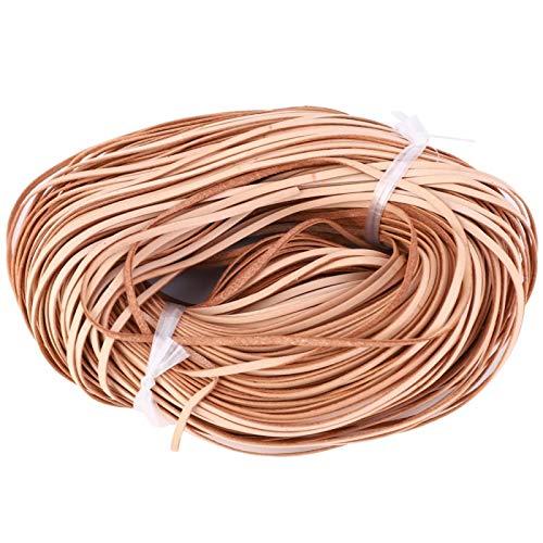 Emoshayoga Cordón de Cuero Cordón de Cuentas de Cuero Tira de Cuero Cuero Plano Cuero artesanías Hechas a Mano(Primary Color 3mm*1mm100m)