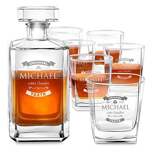 Murrano Whiskey Karaffe + 6er Whiskygläser Set mit Gravur - 700ml Whisky Dekanter - Geschenk zum Geburtstag für Männer - echter Genießer