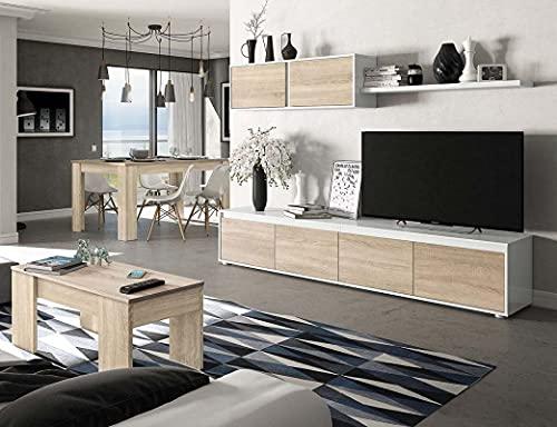 Miroytengo Muebles para salón Completo Color Blanco y Roble Canadian (Mueble Modular...