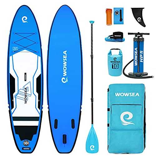 WOWSEA Trophy T1 Inflatable Paddle Board, Durable and Stable Exploring SUP Board, Touring & Blowup Paddleboard, 11' Long x 32' Wide x 6' Thick with iSUP Accessories (Blue)