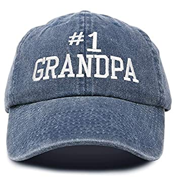 DALIX Number 1 Grandpa Gift Hat Vintage Cap Washed Cotton in Denim Navy Blue